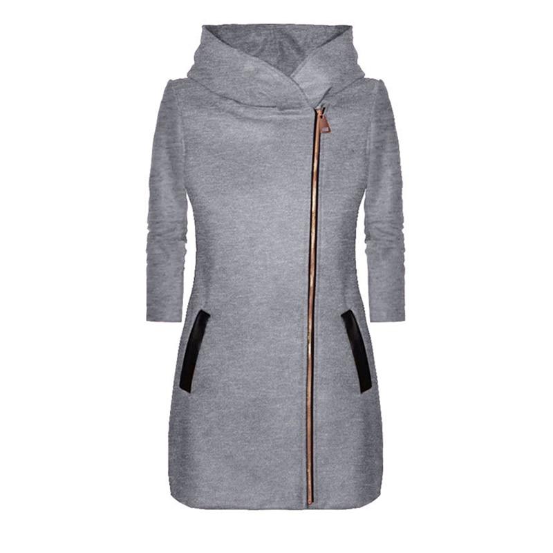 Abrigo de invierno para mujer Casual abrigo de manga larga con cremallera con capucha vintage retro para mujer
