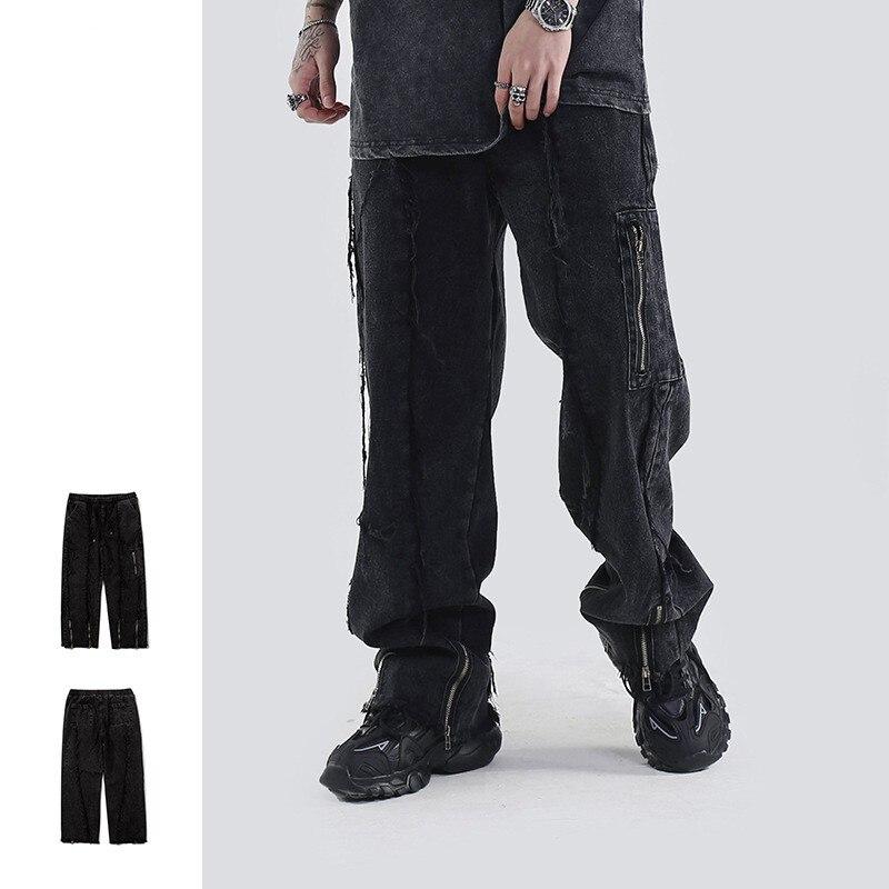 Темные потертые мужские джинсы в стиле панк, изношенные прямые джинсы в стиле ретро со множеством карманов, на молнии, Модные свободные джин...