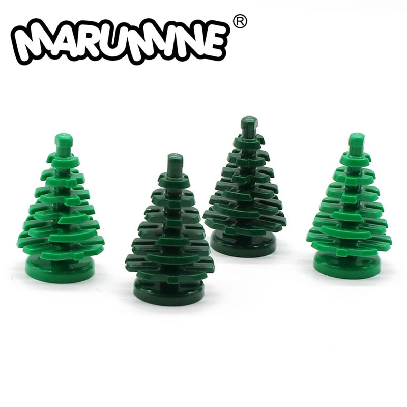 Marumine 20psc pequena árvore de abeto pequenos tijolos peças compatíveis 2435 cidade haste grama flor cidade parte construção brinquedos
