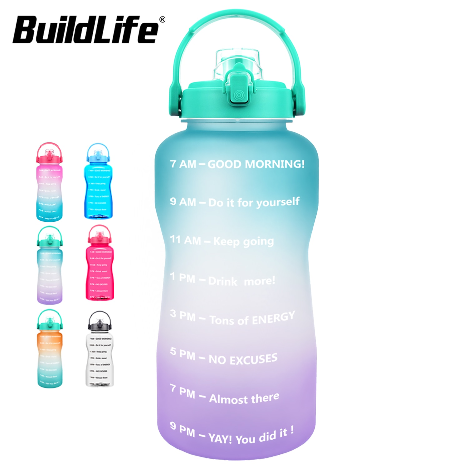 BuildLife 2L 3.8L Tritan Gallon Water Bottle Flip-Flop Motivational BPA Free Sports Fitness Jugs Out