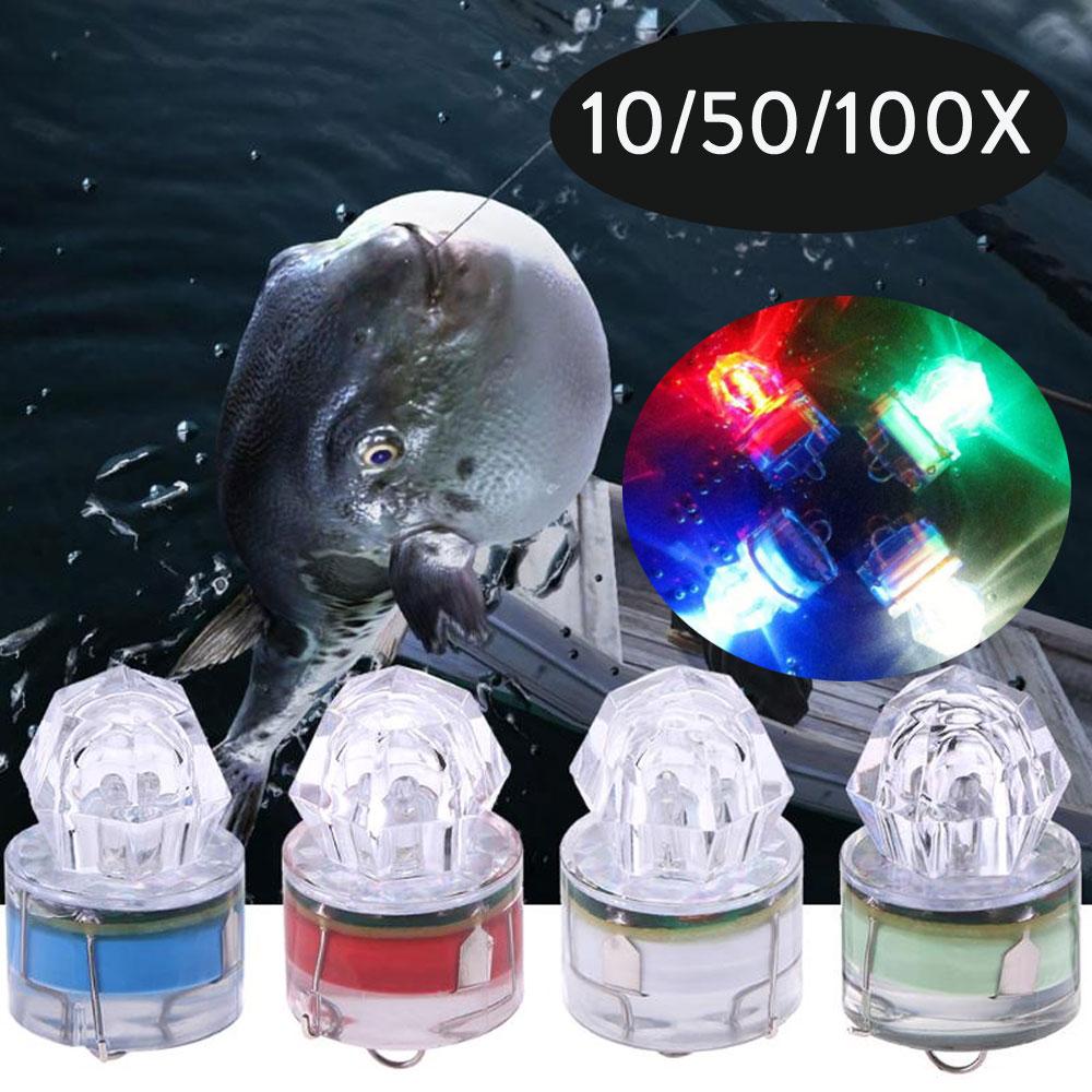 10/50/100X ABS البسيطة LED فلاش الصيد ضوء العميق قطرة الماس تحت الماء للماء الحبار ستروب الطعم الأسماك إغراء مصابيح Ligthts