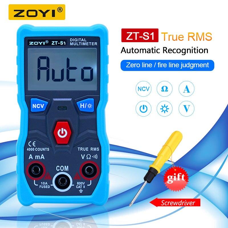 ZOYI ZT-S1 דיגיטלי מודד tester autoranging True rms 10kit מפעל Mmultimetro עם NCV נתונים להחזיק LCD תאורה אחורית + פנס