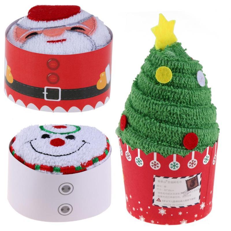 Cupcake toallas de algodón Santa Claus/árbol de navidad muñeco de nieve regalos...