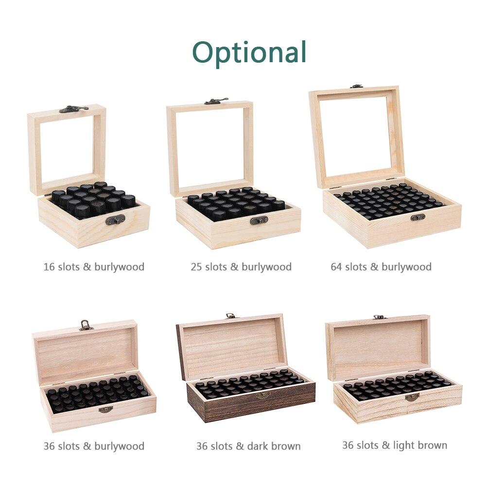 16/25/36/64 slots de madeira caixa de armazenamento de óleo essencial carry organizador garrafas de óleo essencial aromaterapia recipiente caixa de armazenamento