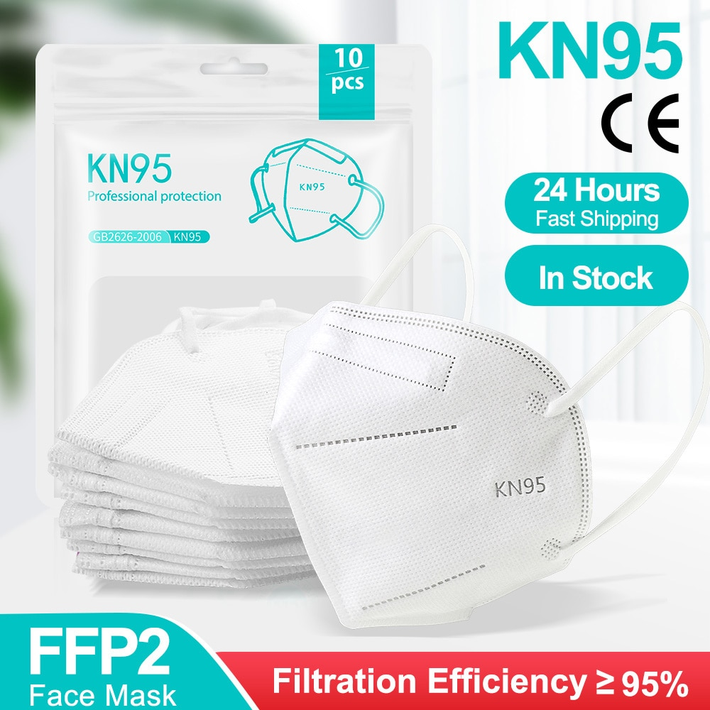 100Pcs Mask FFP2 KN95 Mouth Mask 5 Layers Anti-droplets Protective KN95 Face Masks Reusable Filter ffp2mask CE Mascarillas