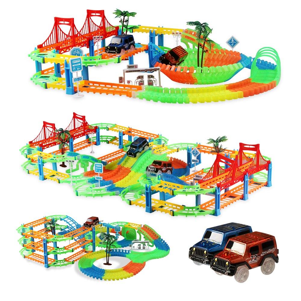 Flexible Glow Race Track Flashing Diecast Car Model Racing Luminous Glow in the Dark Educational Toy for Boys Xmas Gift