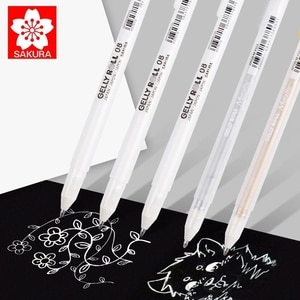 Sakura Gelly Roll 3pcs  05/08/10 White Ink Highlight Gel Pen 0.3/0.4/0.5mm Pens Golden Silver Grey Color Marker