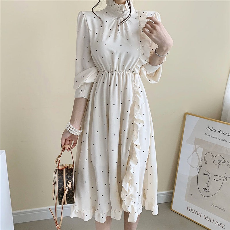 HziriP Chic Spring High Waist Stand Polka Dots Chiffon 2020 Stylish Hot Women A-Line Streetwear Brief Office Lady Long Dresses