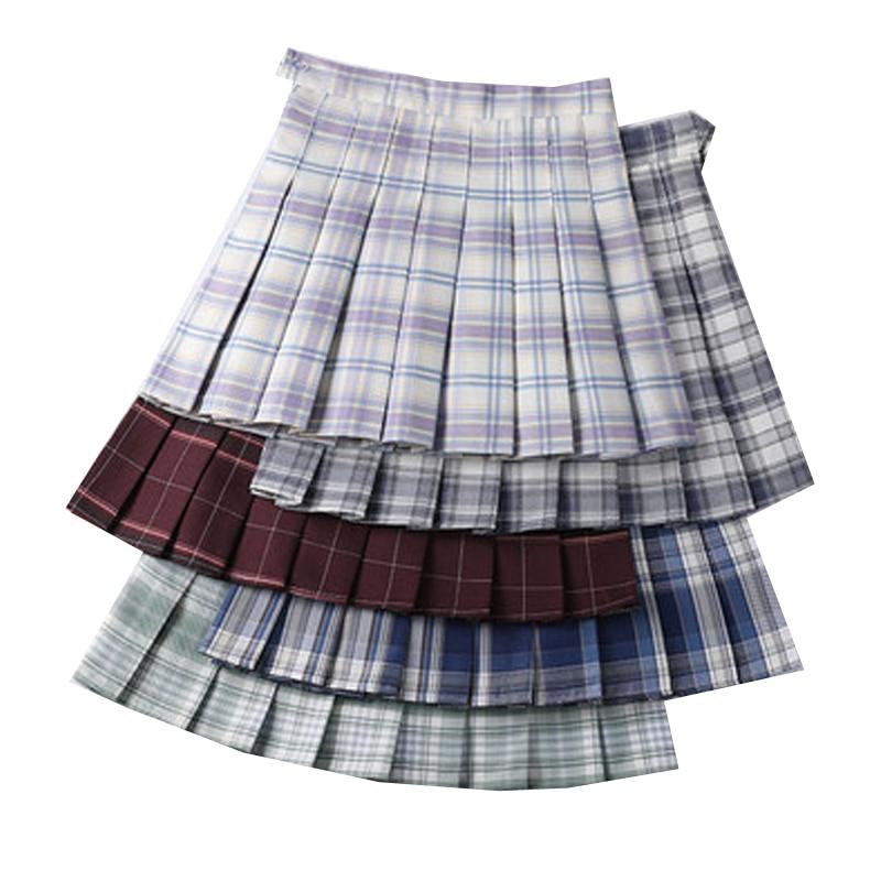 Простая Женская плиссированная юбка трапециевидной формы с высокой талией, Женская клетчатая юбка-плиссе, мини облегающая Короткая юбка дл...