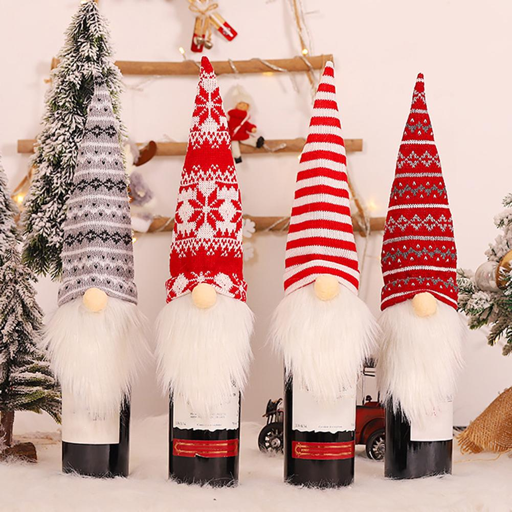 Christmas Santa Gnome Wine Bottle Cover Cap Champagne Packaging Bag Party Dinner Holiday Table Decor