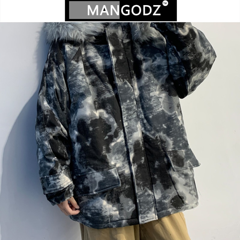 2020 Men Camo Streetwear Winter Hooded Parkas Japanese Streetwear  Oversized Casual Puffer  Models Fur Collar  Jacket men zip camo hooded jacket