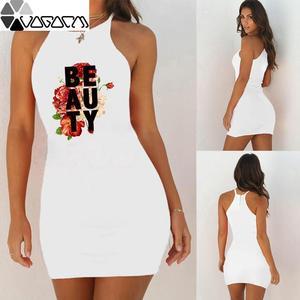 Party Dress Summer Women Dress Flowers Alphabet Print Vest Dress Daily Party Sexy Dress Show Figure Beach Women's Short Dress