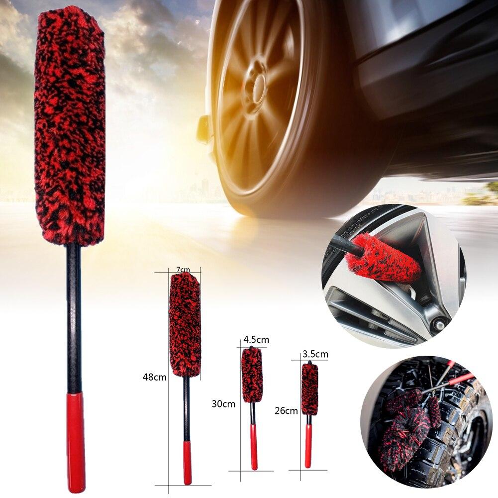 Auto Car Wheel Hub Cleaning Brush Flexible Long Handle Premium Wool Car Rim Brushes Soft Fiber Car Tire Cleaning Brush