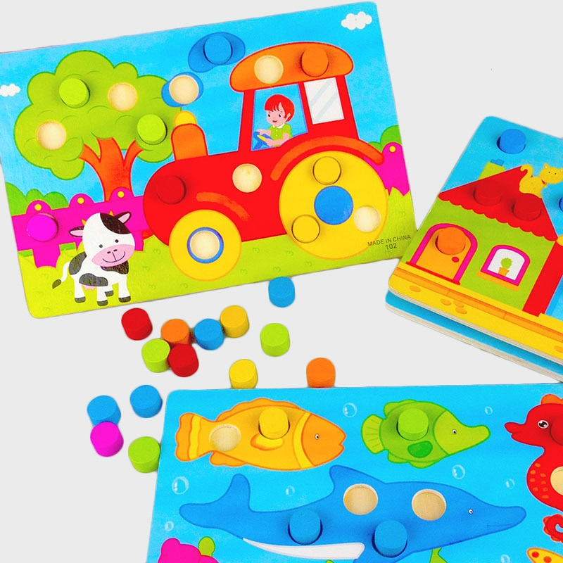 Montessori  Wooden Toys Tangram/Jigsaw Board Cartoon Puzzle Jigsaw Early Learning educational for children toddler toys