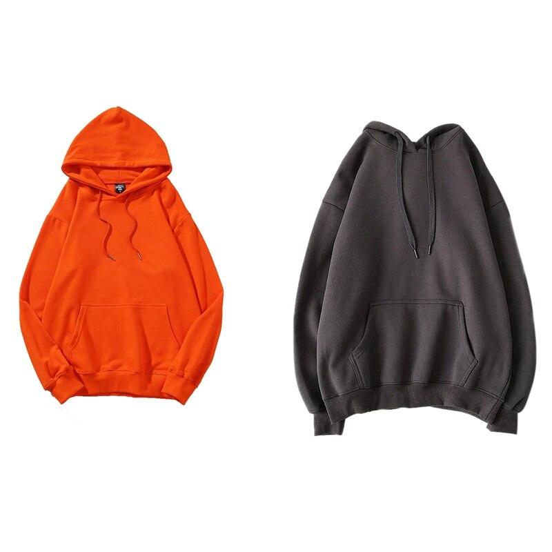 2 قطعة هوديس الدافئة المتضخم للجنسين زوجين بلوزات Harajuku مقنعين الرجال النساء هودي القمم XXL ، البرتقالي و رمادي غامق