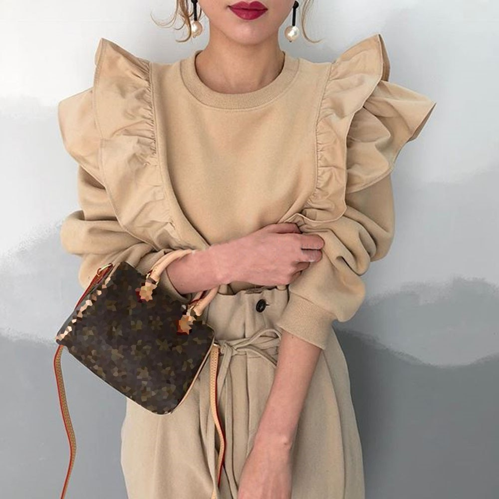 2021Spring Fashion Hoodie All-match Solid Color Ruffled Women New In Tops Korean Casual Pullover Jap