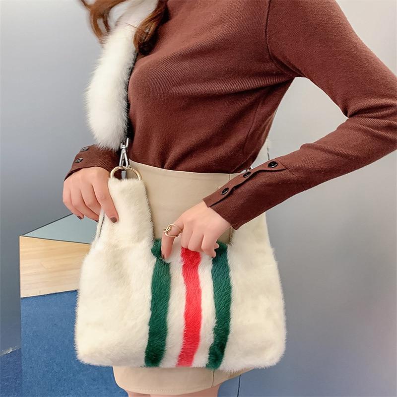 2021 New High-End Fur Handbag 100% Mink Fur Diagonal Bag Ladies Fashion Plush One-Shoulder Diagonal Bag