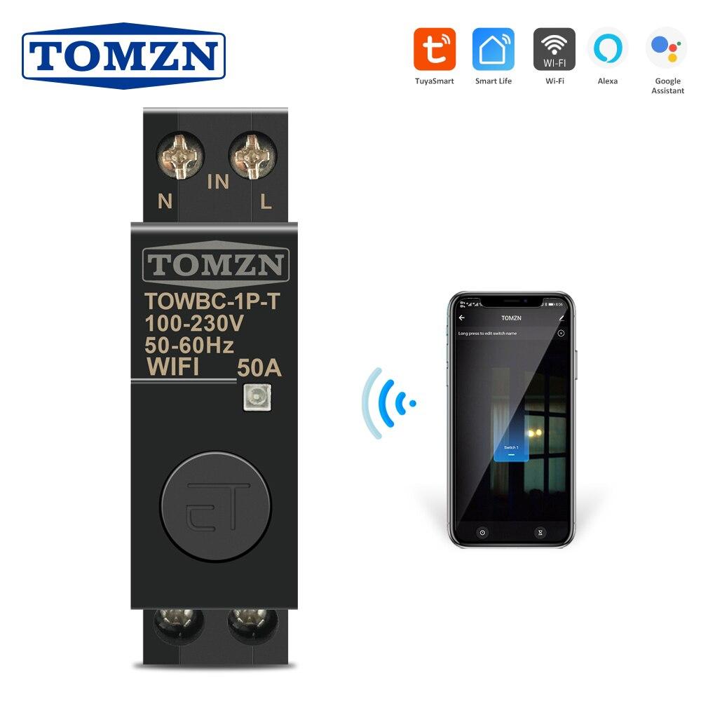 Smart Life TUYA 1P 18 مللي متر WiFi الذكية قاطع الدائرة التبديل مع أليكسا جوجل المنزل للمنزل الذكي