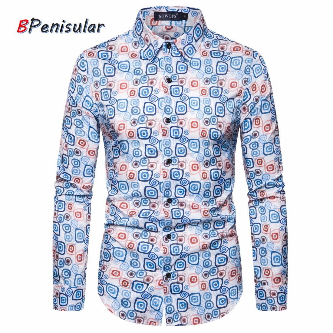 Ropa informal japonesa primavera 2020 Camisa para Hombre con estampado de círculos ajustada Camisa hawaiana Vestido de manga larga Camisa para Hombre Camisa Hombre