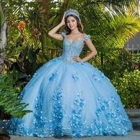sky blue cheap quinceanera dresses ball gown v neck tulle flowers beaded puffy sweet 16 dresses