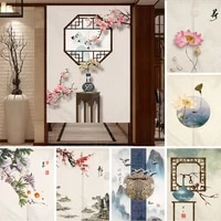 chinese ink flower fengshui painting door curtains for kitchen bedroom restaurant entrance partition half hanging curtains