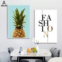 Peinture murale sur toile avec fruits et ananas  affiches et imprimes de Style nordique  lettres de mode  images decoratives pour la maison  pour salon
