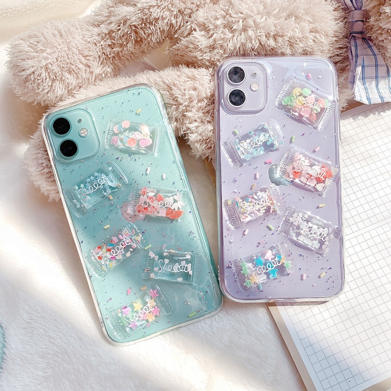 Fundas de teléfono de dulces en 3D INS para iphone 11 XR X XS Max 11 Pro Max 7 8 Plus SE 2020, funda bonita transparente con purpurina