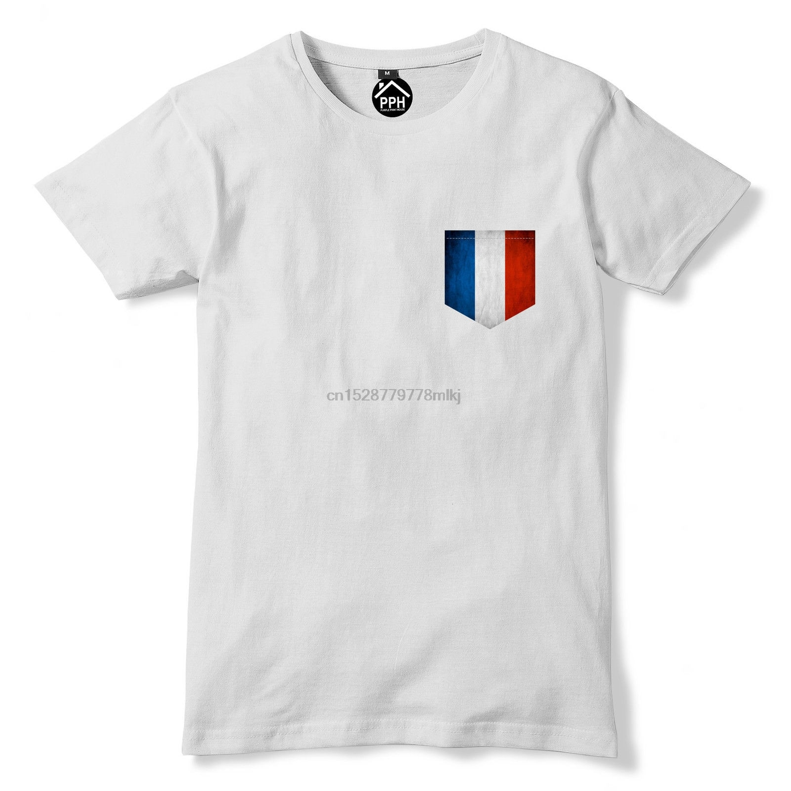 Shirt Tshirt Hipster Cool O Neck Tops Vintage Print Pocket France Flag T Shirt Footballer Franciase Sportercasual Homme Tshirt