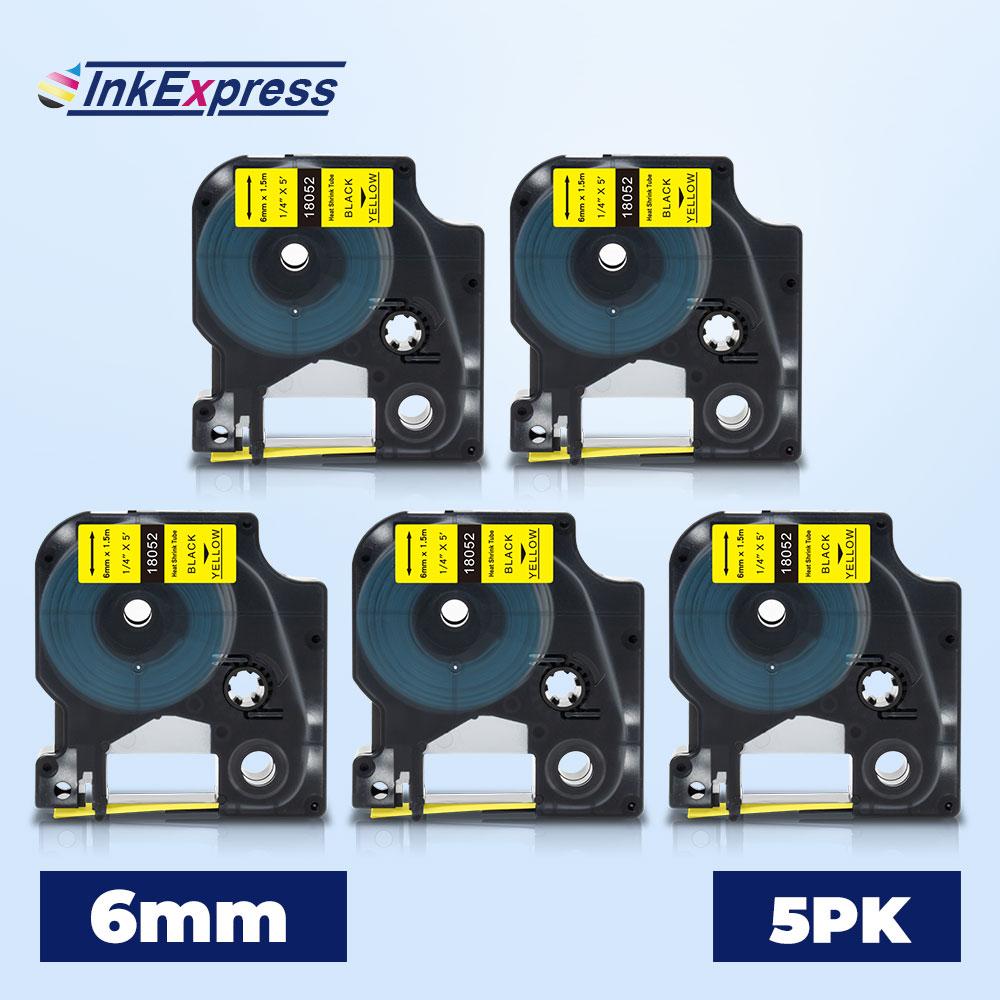 5PK 18052 этикетка для DYMO Rhino IND термоусадочная трубчатая лента 6 мм Промышленная лента 18052 для DYMO Rhino 4200 5200 6000