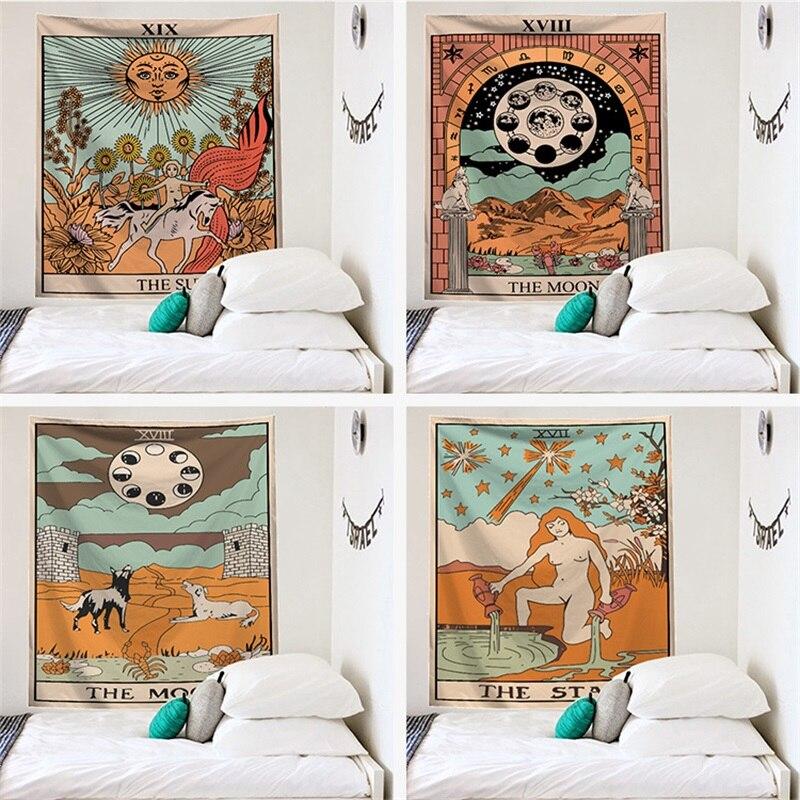 Гобелен Мандала Таро, Настенное подвесное покрывало для декора спальни, с Луной и фазой смены, 95х73 см
