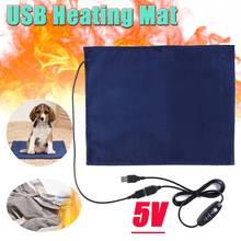 Heating Mat Pet 5V USB Electric Clothes Heater Sheet Winter Plush Pads Warmer Bed Pad Three Temperature Carbon Fiber Cat Dog Mat