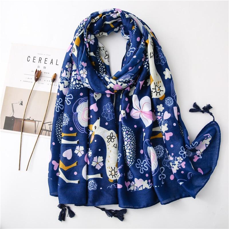 Ethnic print scarf luxury brand hijab scarf 2020 women autumn winter Spain style bohemian hippie tribe print tassels scarf