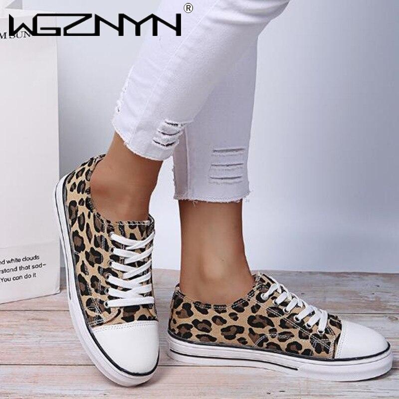 Zapatos De lona De leopardo para Mujer, Zapatillas informales transpirables, Tenis