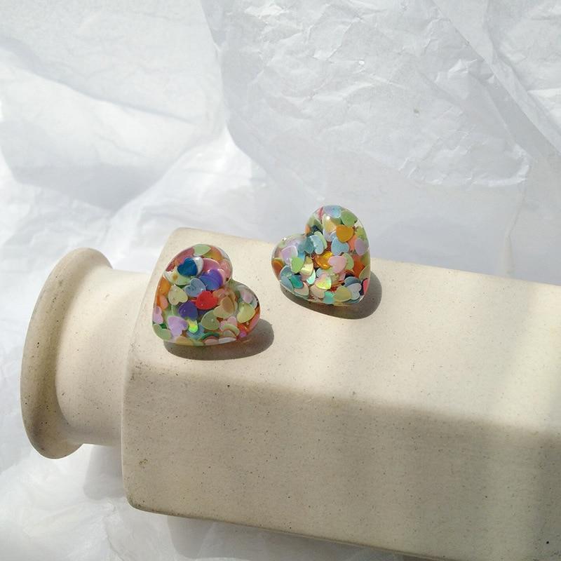 Estilo coreano laser sequined doce cor amor coração clip em brincos para mulheres bonito menina em forma de coração clipes de ouvido brincos jóias