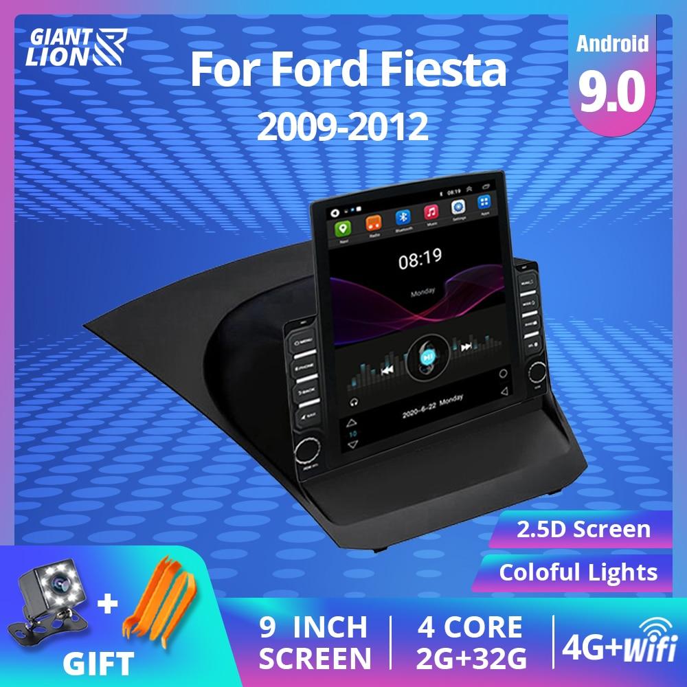 Radio de coche 2DIN Android 9,0 para Ford Fiesta 2009-2012 reproductor de vídeo Multimedia pantalla táctil navegación estéreo autorradio 2Din DVD