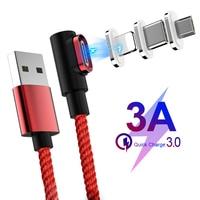 Магнитный кабель 90 градусов usb c Micro usb Type C, кабель для быстрой зарядки L-Line Micro usb Type-C, магнитное зарядное устройство для iphone X, xiaomi