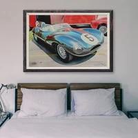 Peinture classique de voiture de course retro bleue  affiche en soie personnalisee No 5 47  Art mural de decoration pour la maison  cadeau de noel  T049