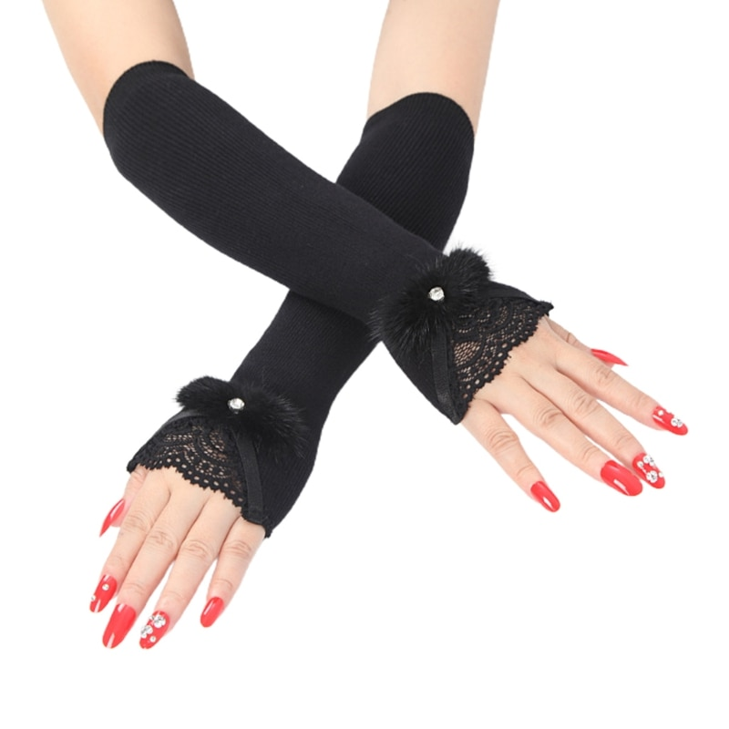 Women Ribbed Knit Arm Warmers Sleeves Lace Furry Bowknot Long Fingerless Gloves 6XDA