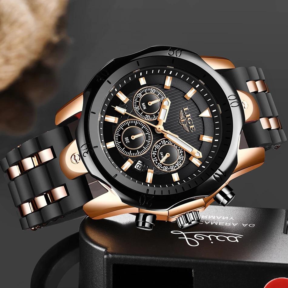 Relogio Masculino New Fashion Watch Men LIGE Top Brand Sport Watches Mens Waterproof Quartz Clock Man Casual Military WristWatch enlarge