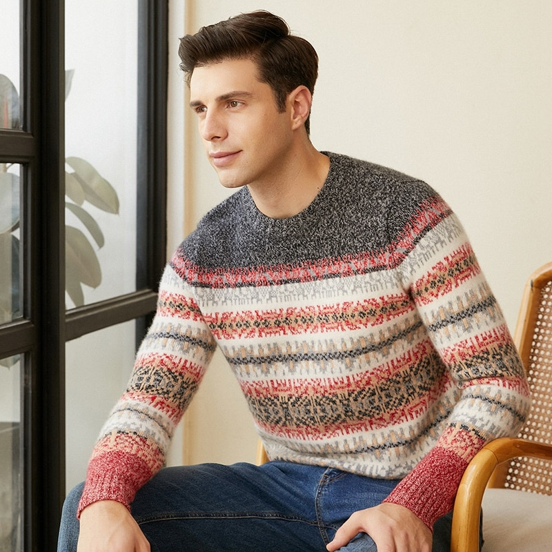Men's heavy thick 100% cashmere sweater men's oil painting style pullover