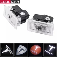 2 pcs car led 3d logo shadow light welcome light nano decorative signal lamp for tesla model 3 y x s car styling accessories