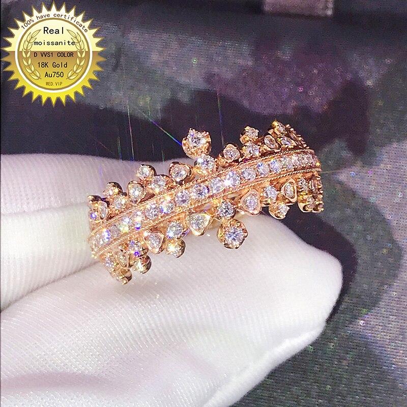 100% 18K خاتم ذهبي DVVS مويسانيت خاتم الخطوبة ومجوهرات الزفاف مع شهادة 0014