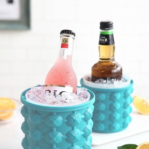 Silicone Ice Cube Maker Ice Cube Mold Wine Ice Cooler Beer Cabinet Space Saving Kitchen Tools Portable Bucket Wine Ice
