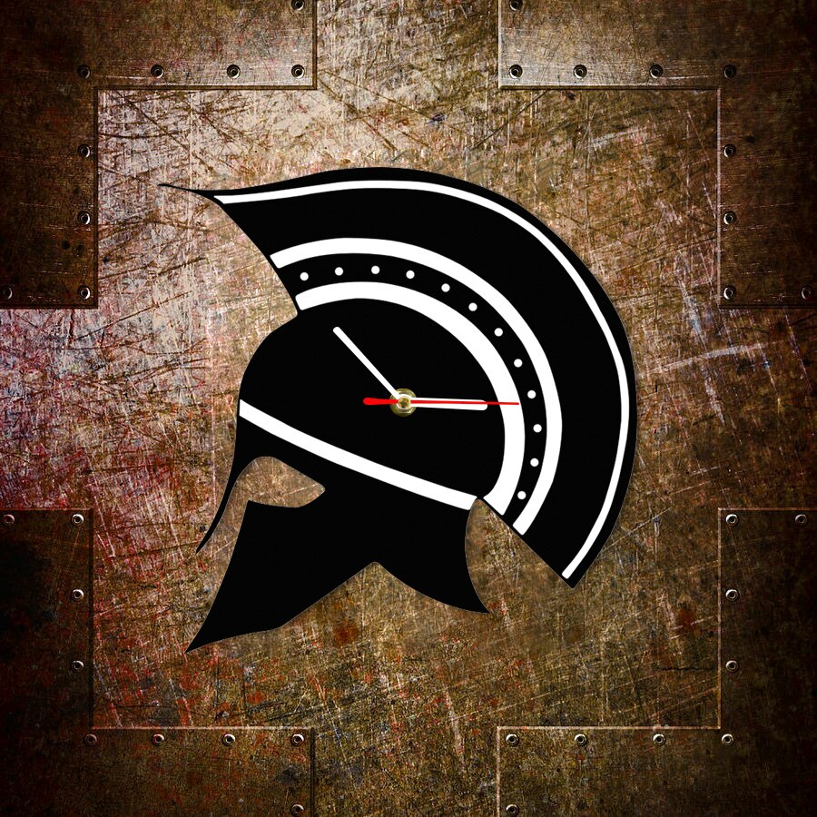 Sparta Greek Helmet Portrait Greece Wall Clock Maximus Gladiator Warrior Helmet Decor Clock Watch Ancient Greek Home Decoration
