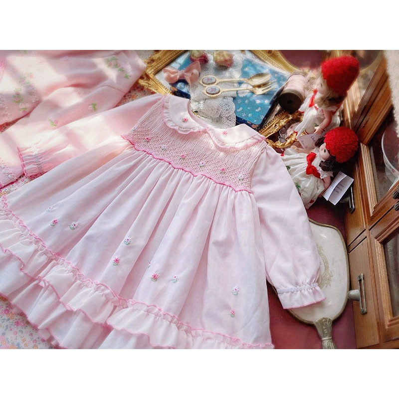 Baby Girl Spring Summer Pink Smocking Cotton Vintage Spanish Ball Gown Lolita Princess Dress Easter Eid Birthday Party Casual