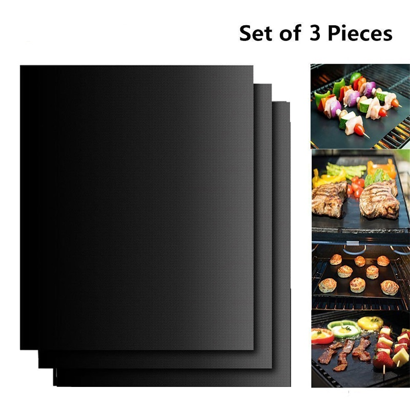 3pcs Reusable BBQ Grill Mat Portable Outdoor Picnic Cooking Non Stick Grill Mat Barbecue Oven Tool  Pad Baking Sheet Hot selling