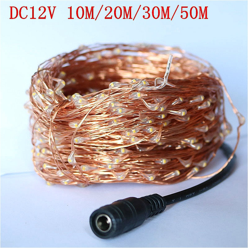 Guirnaldas de luces LED navideñas impermeables de alambre de cobre guirnaldas de exterior DC 10 M/20 M/30 M/50 M/100 M con adaptador de corriente