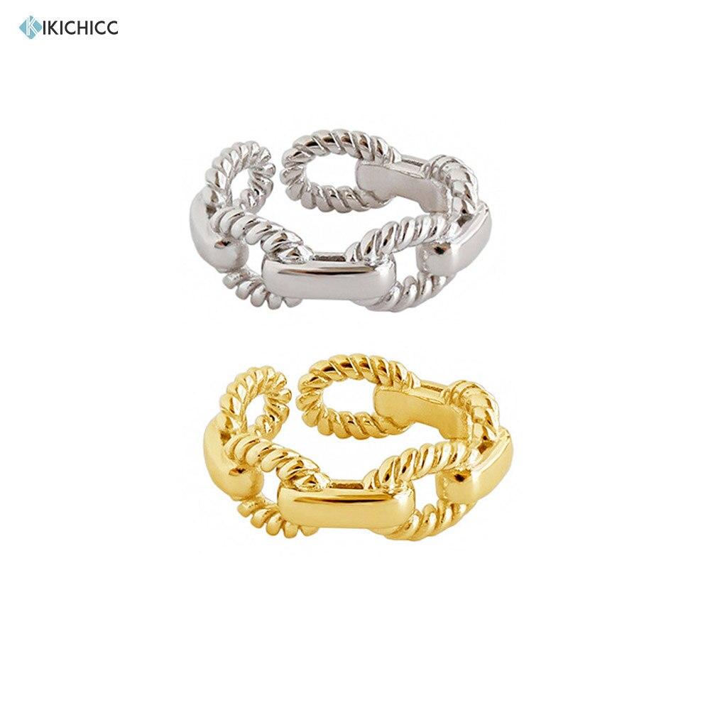 Kikichicc 100% único 925 prata esterlina corrente irregular anel redimensionável feminino luxo statement party ajustável anéis de jóias