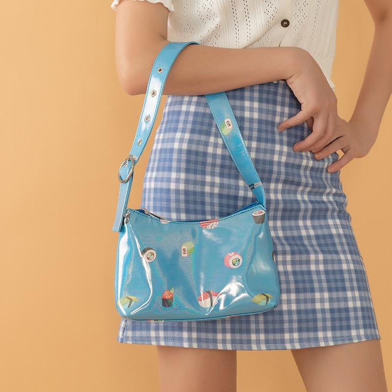 Cartoon Underarm Bag Luxury Leather Handbags Women Baguette Shape Bag Shoulder Bags For Women 2020 Summer Beach Bags Bolsa