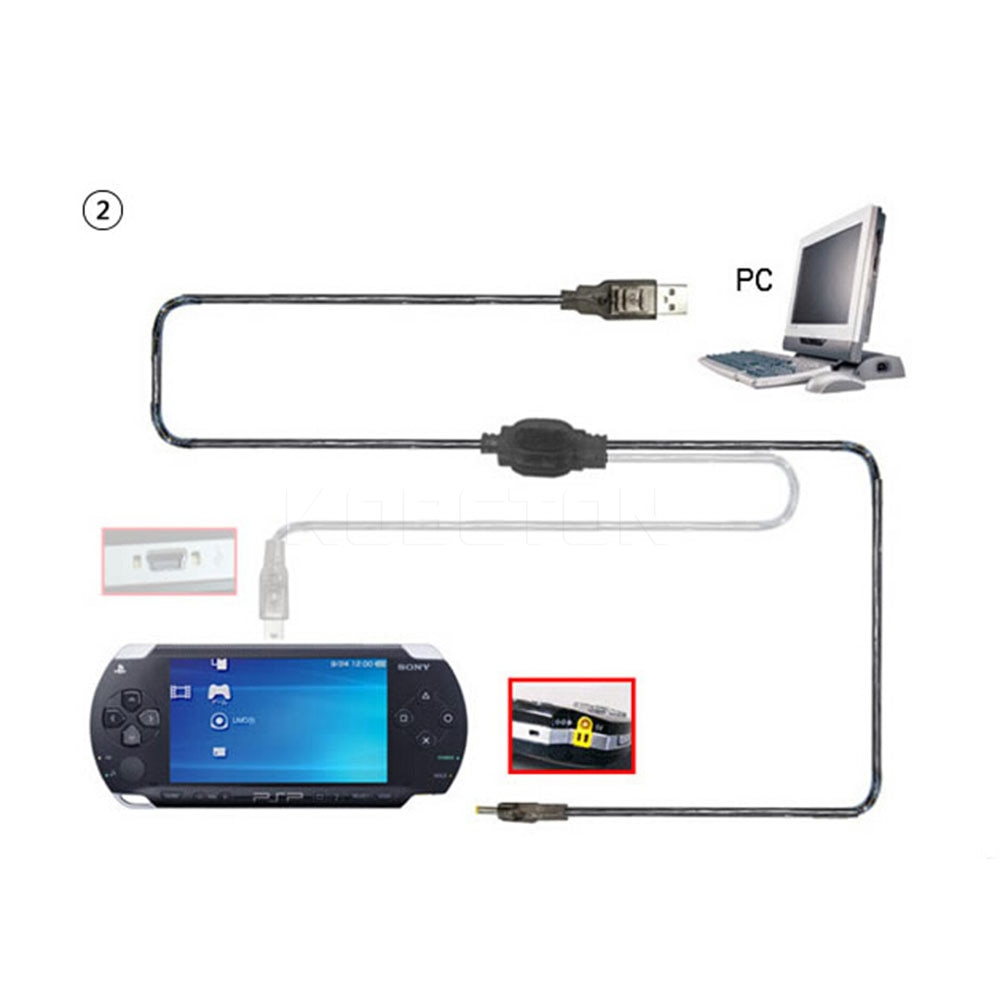 Newest 2 in 1 USB Data Cable + Charger Cable Cord For PSP 2000 3000 Gaming Accssories